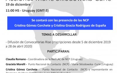 Seminario Virtual de Convocatorias Rise de las Acciones Marie Sklodowska-Curie (MSCA)