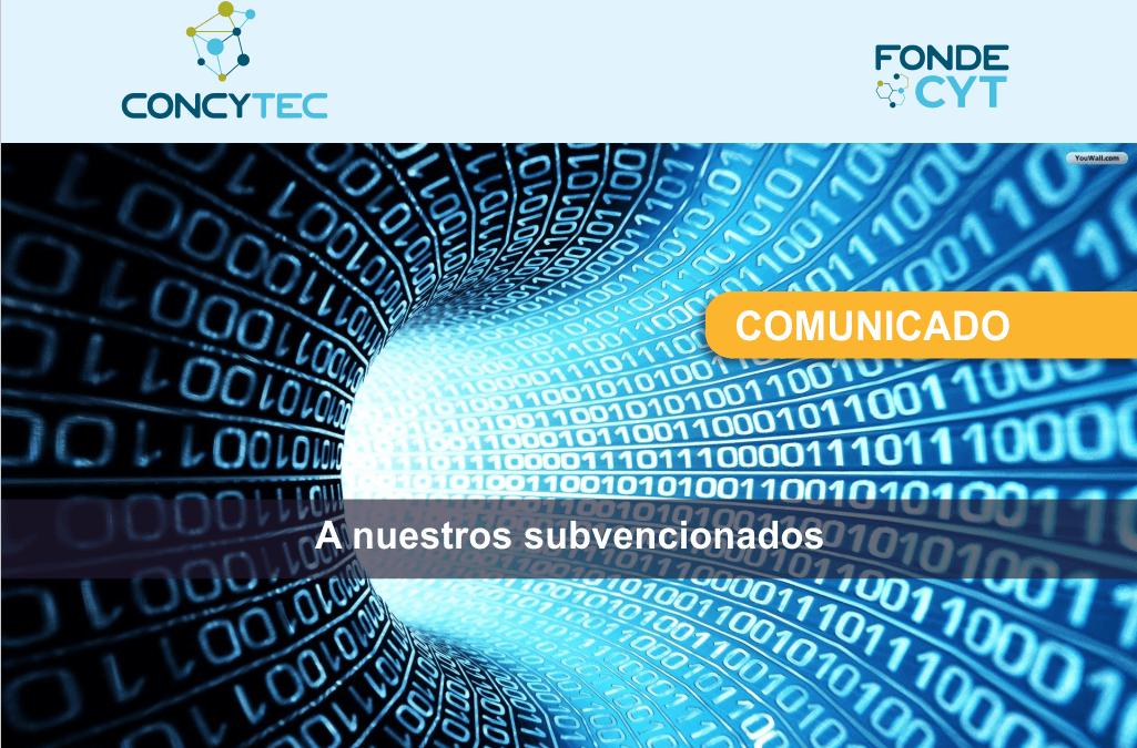 Comunicado de Concytec para retomar el trabajo de investigadores subvencionados