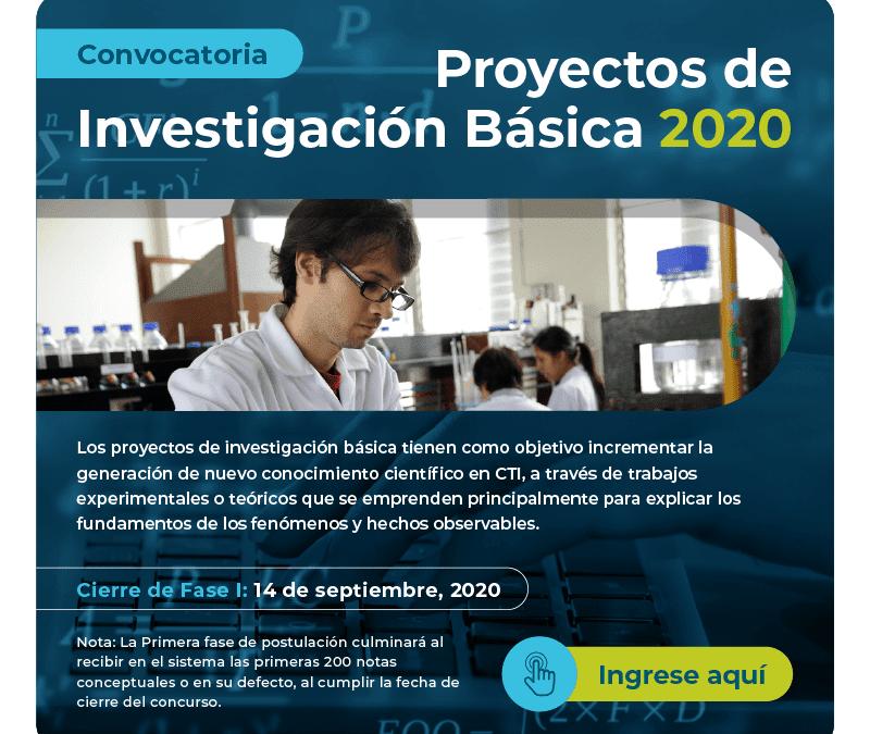 Convocatoria Concytec sobre Proyectos de Investigación Básica 2020 se cierra 14 setiembre