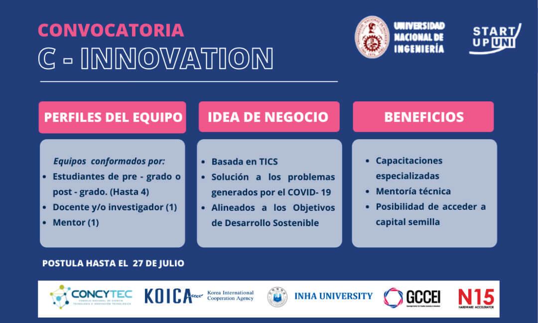 Convocatoria al Programa C – Innovation 2021 dirigido a emprendedores de la UNI, basados en TIC´s